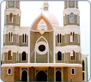 Front view of South India's biggest church - the St.George Forane Church, Angamaly